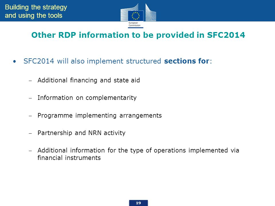 Other RDP information to be provided in SFC2014