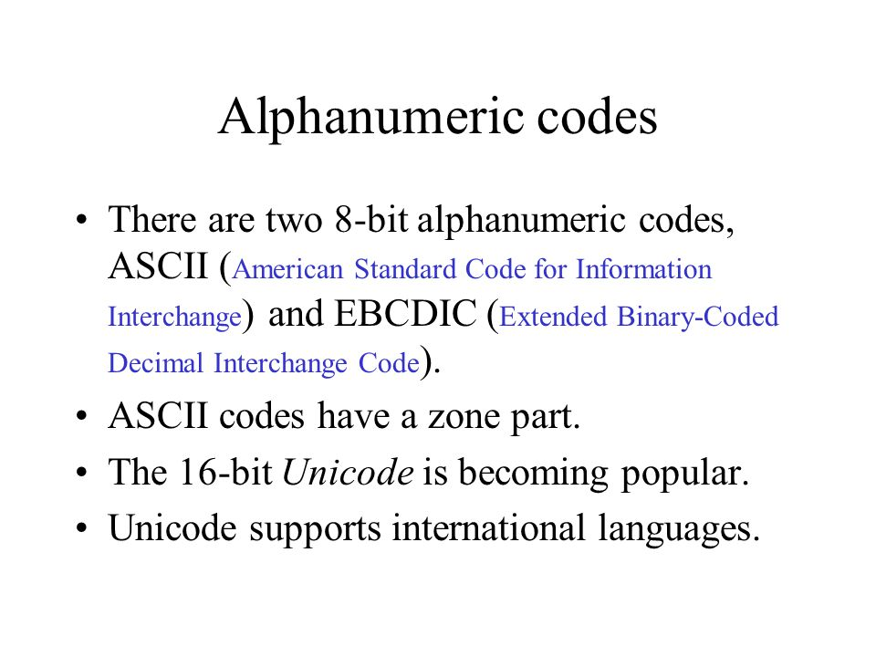 Alphanumeric codes