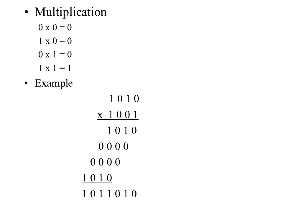 Multiplication Example 1 0 1 0 x 1 0 0 1 0 0 0 0 1 0 1 1 0 1 0