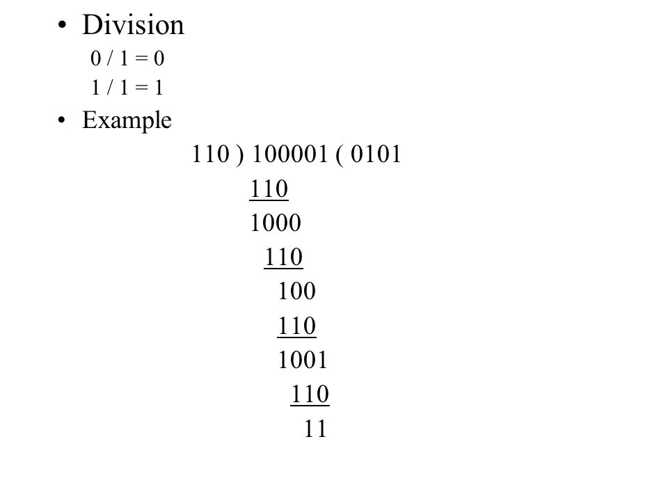 Division 0 / 1 = 0 1 / 1 = 1 Example 110 ) 100001 ( 0101 110 1000 100 1001 11