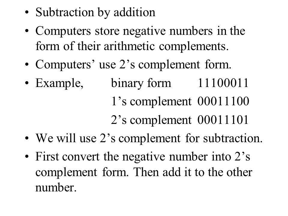 Subtraction by addition