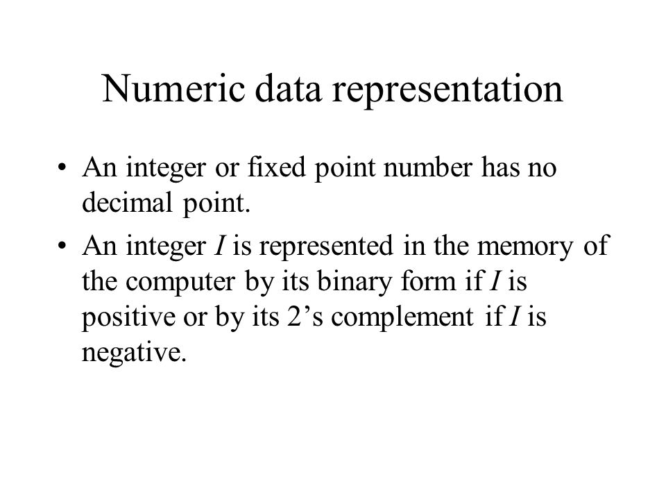 Numeric data representation
