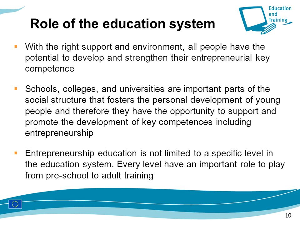 Role of the education system