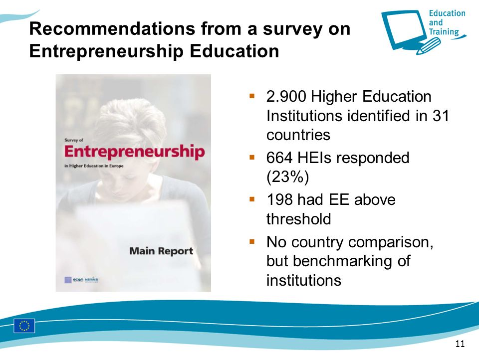 Recommendations from a survey on Entrepreneurship Education