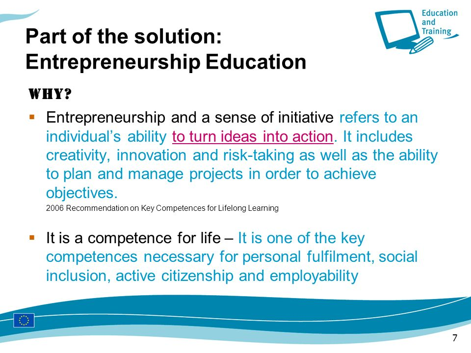Part of the solution: Entrepreneurship Education