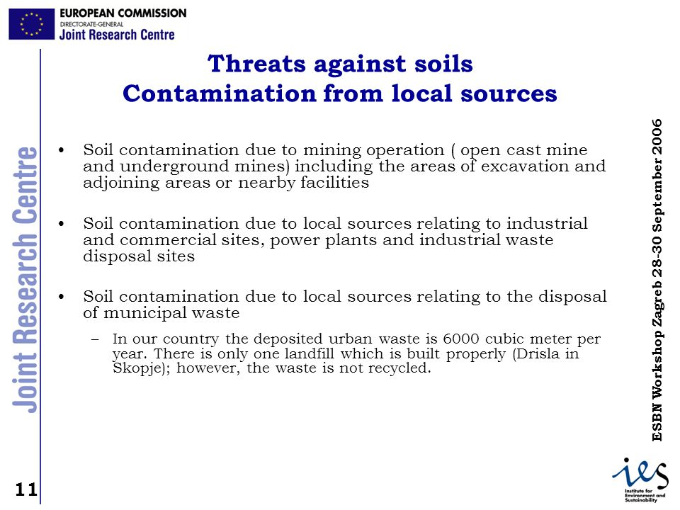 Threats against soils Contamination from local sources