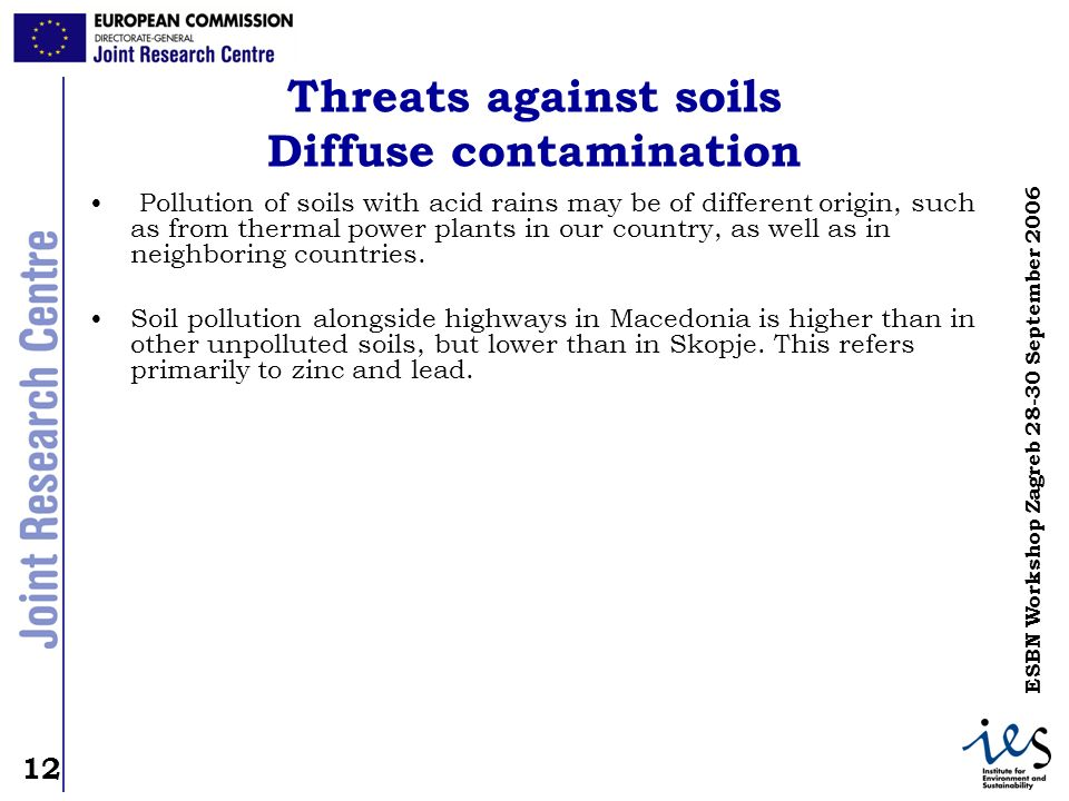 Threats against soils Diffuse contamination