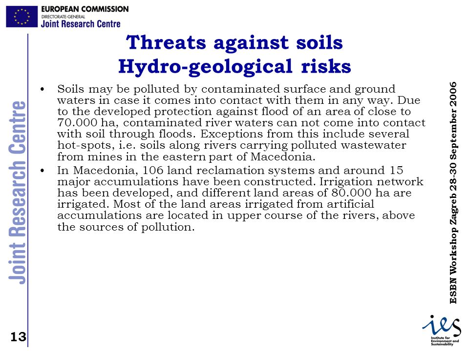 Threats against soils Hydro-geological risks
