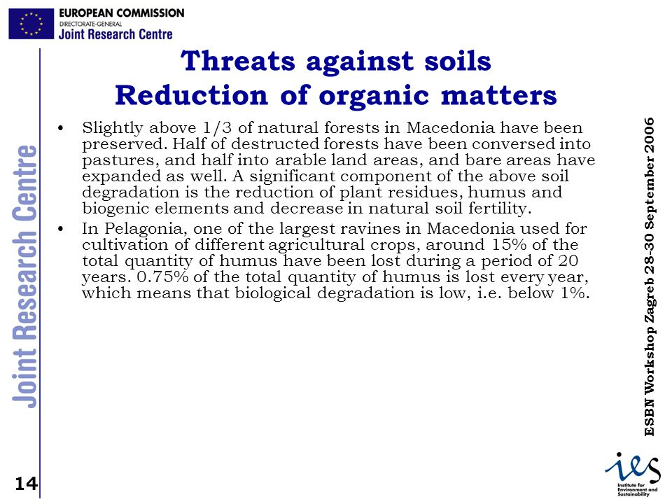Threats against soils Reduction of organic matters