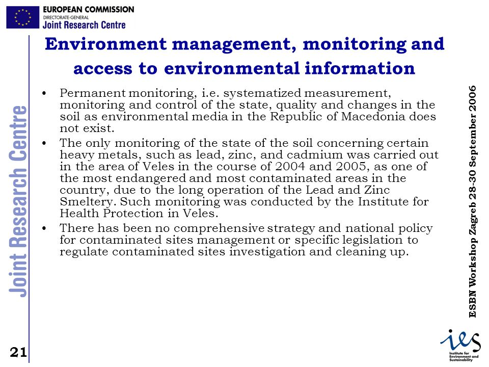 Environment management, monitoring and access to environmental information