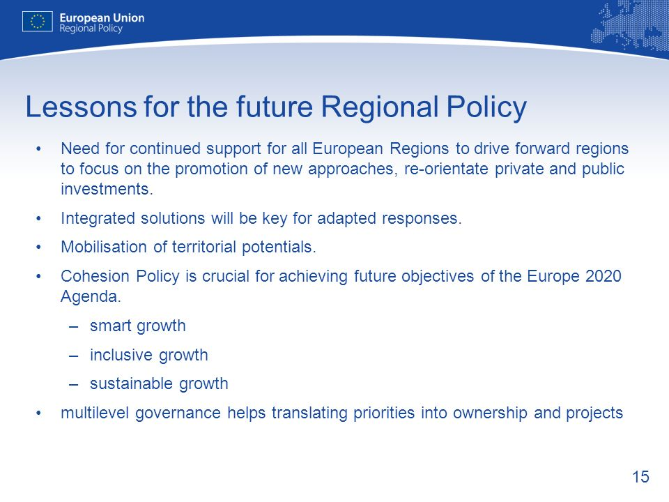 Lessons for the future Regional Policy