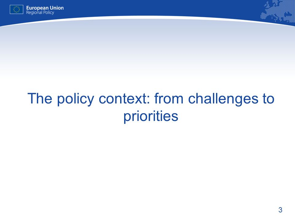 The policy context: from challenges to priorities