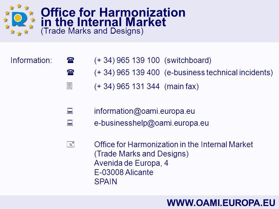 Information:  (+ 34) 965 139 100 (switchboard)