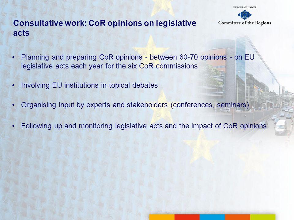 Consultative work: CoR opinions on legislative acts