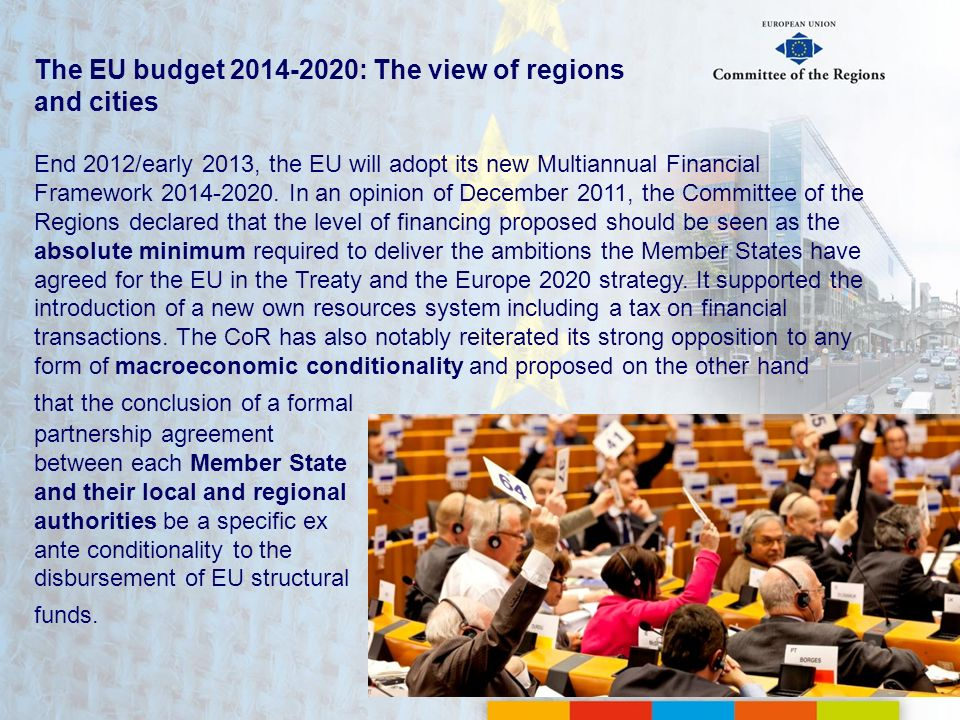 The EU budget : The view of regions and cities