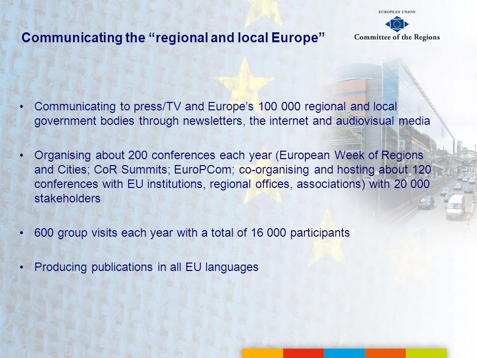 Communicating the regional and local Europe
