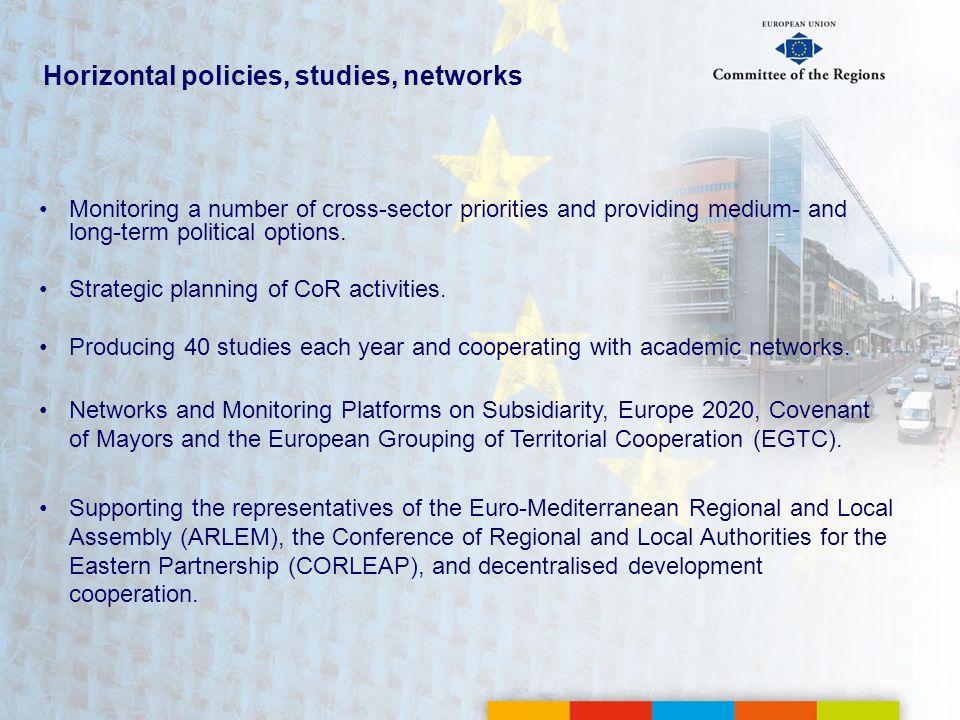 Horizontal policies, studies, networks