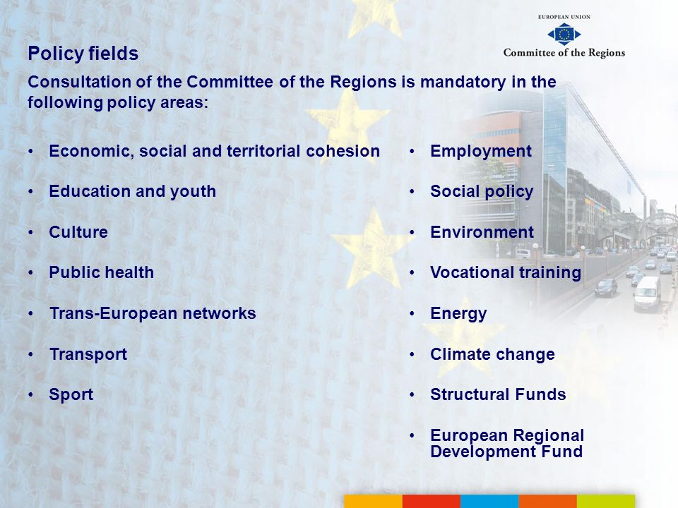 Policy fields Consultation of the Committee of the Regions is mandatory in the following policy areas: