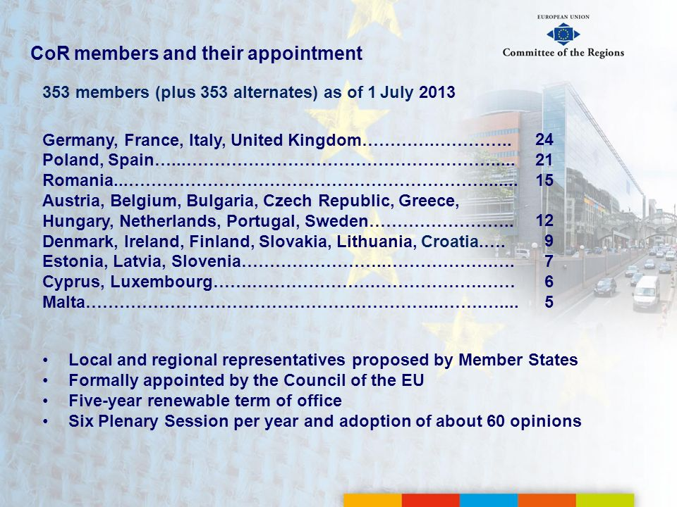 CoR members and their appointment
