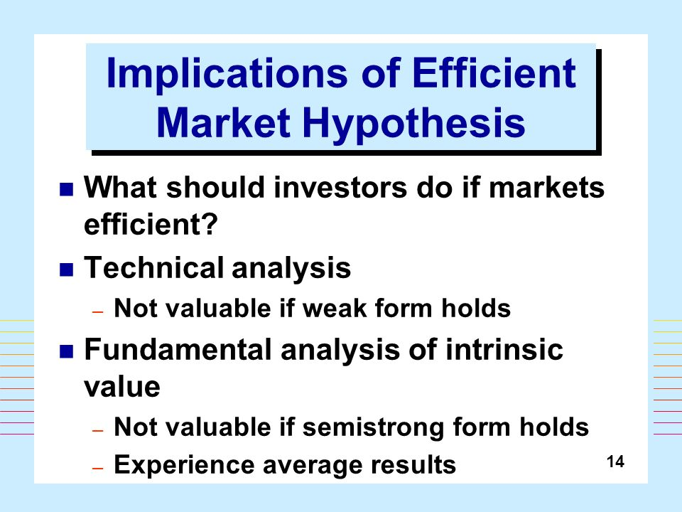 implications of efficient market hypothesis The efficient market hypothesis states that at any given time, security prices fully  reflect all available information the implications of the efficient.