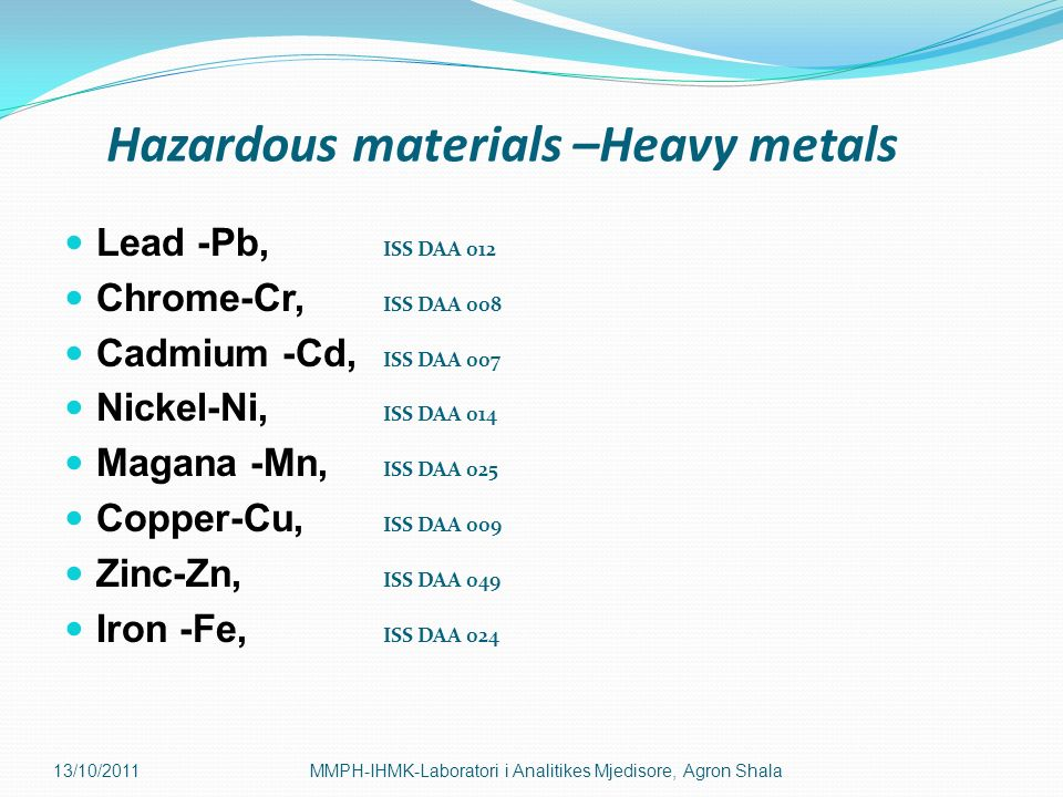 Hazardous materials –Heavy metals