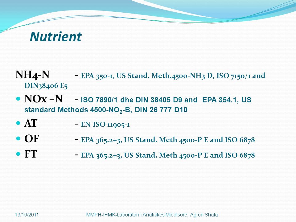 Nutrient NH4-N - EPA 350-1, US Stand. Meth.4500-NH3 D, ISO 7150/1 and DIN38406 E5.