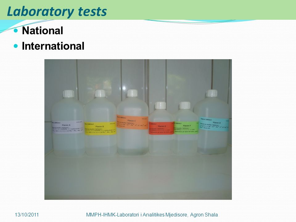 Laboratory tests National International 13/10/2011