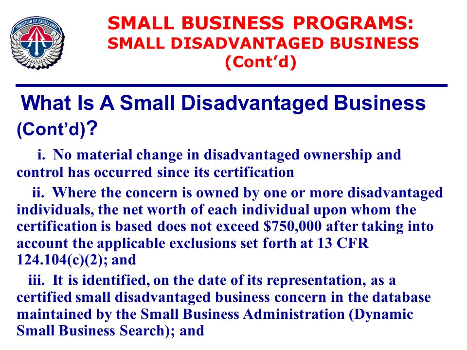 Office of small business programs ppt download for Sdb business
