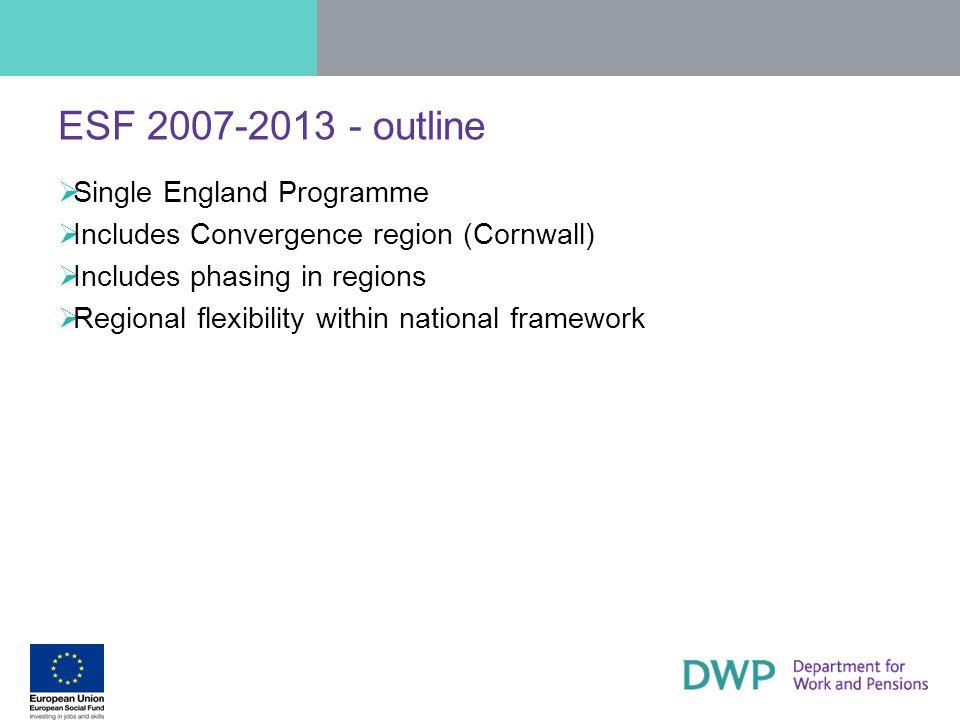 ESF 2007-2013 - outline Single England Programme