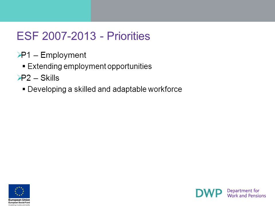 ESF 2007-2013 - Priorities P1 – Employment P2 – Skills