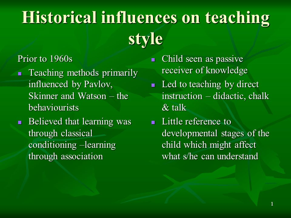 historical influences presentation Keynote address for the workshop on inclusive education in  historical and theoretical  field has had significant influences not only on special.