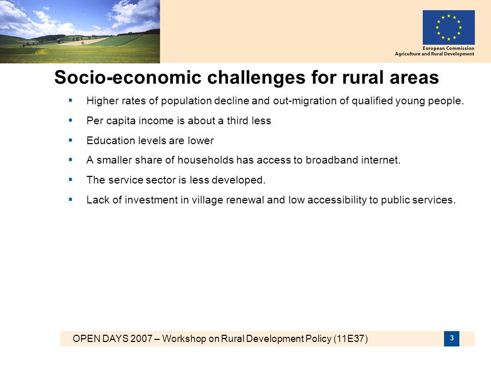 Socio-economic challenges for rural areas