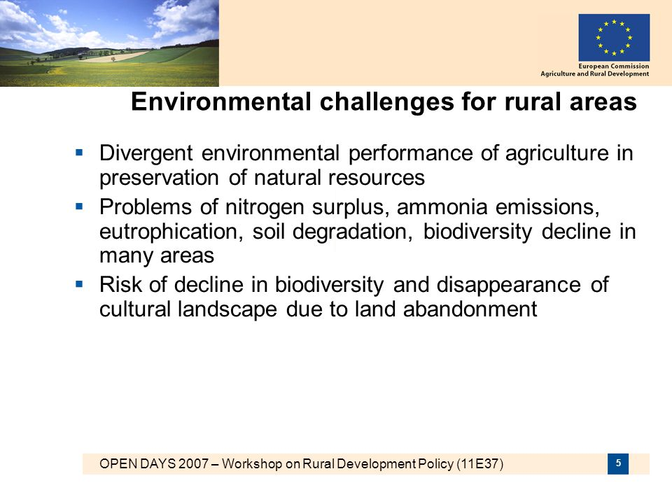 Environmental challenges for rural areas