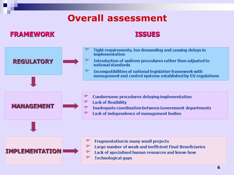 Overall assessment FRAMEWORK ISSUES REGULATORY MANAGEMENT