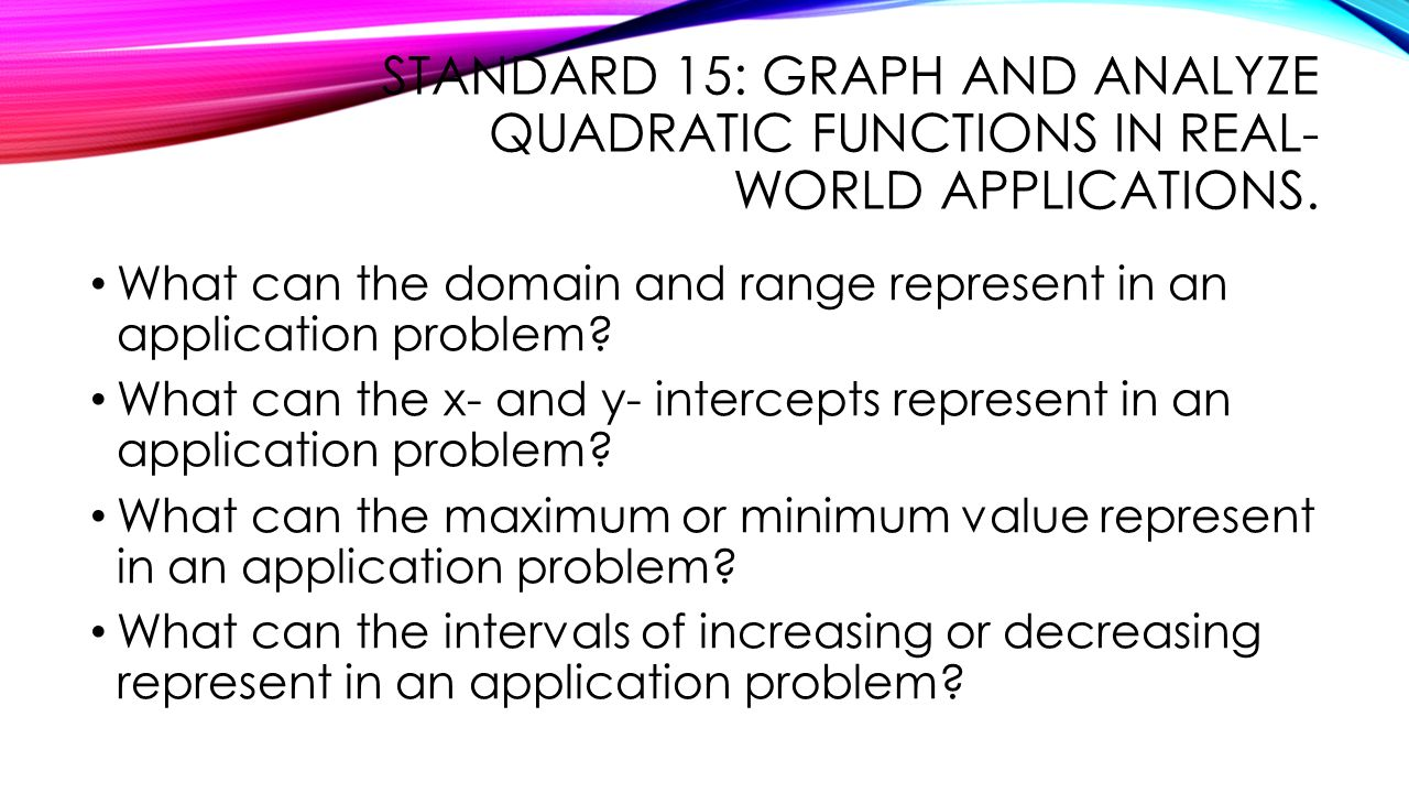 real world quadratic functions Real world quadratic functions quadratic functions are more than mathmatical curiosities because they are widely used in science, business, and.