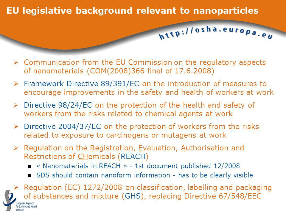 EU legislative background relevant to nanoparticles