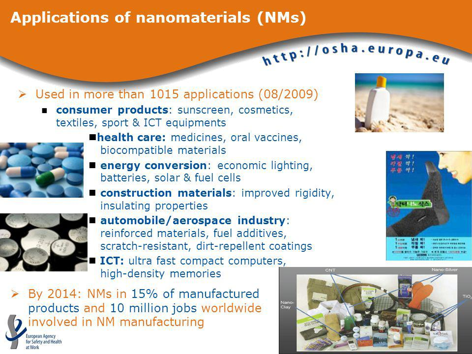 Applications of nanomaterials (NMs)