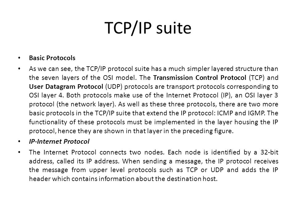TCP/IP suite Basic Protocols