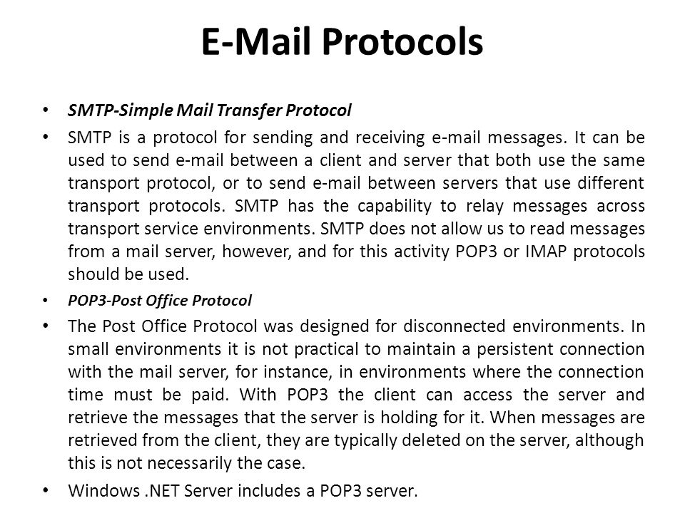Protocols SMTP-Simple Mail Transfer Protocol