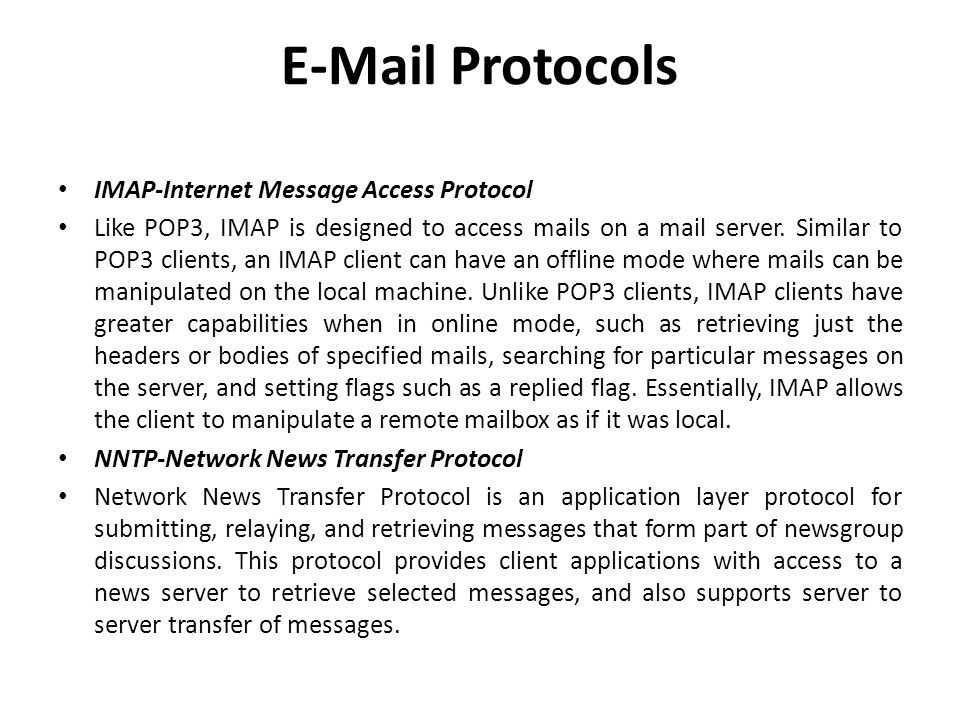 Protocols IMAP-Internet Message Access Protocol