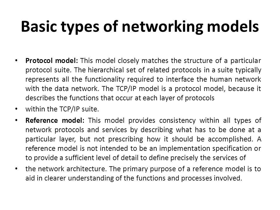 Basic types of networking models