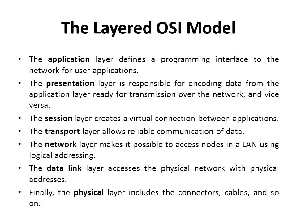 The Layered OSI Model The application layer defines a programming interface to the network for user applications.