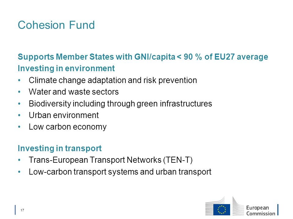 Cohesion Fund Supports Member States with GNI/capita < 90 % of EU27 average. Investing in environment.