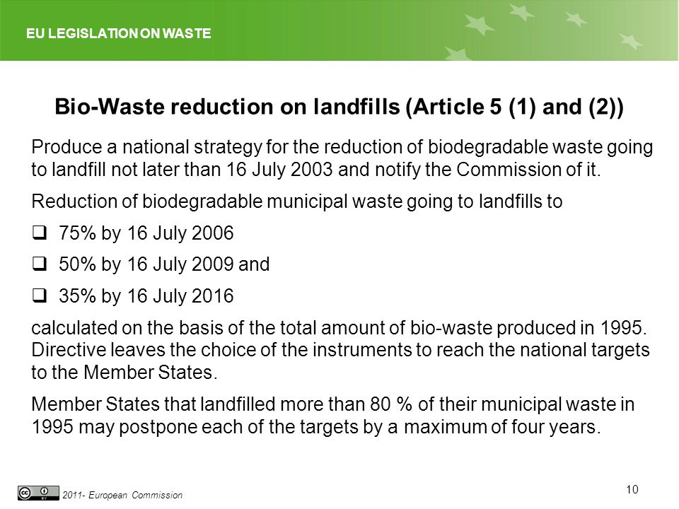 Bio-Waste reduction on landfills (Article 5 (1) and (2))
