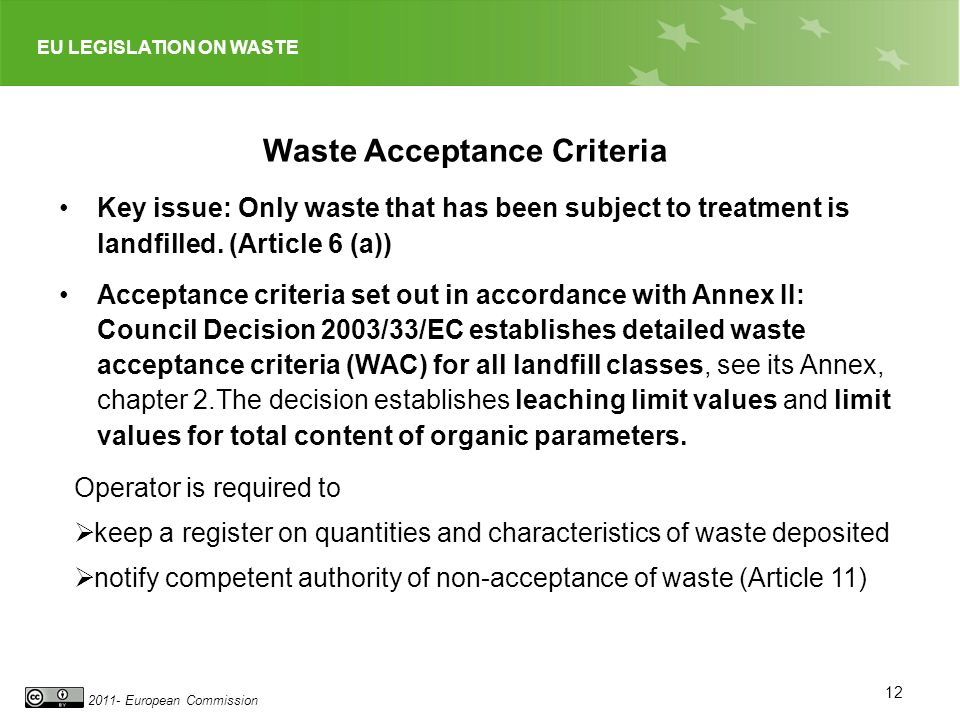 Waste Acceptance Criteria