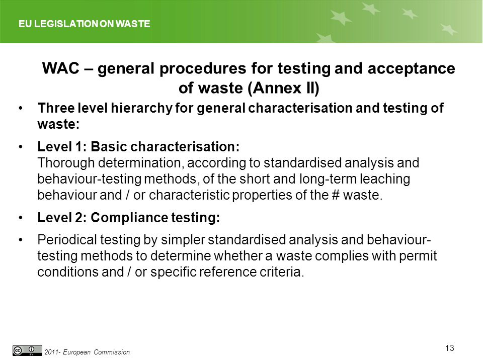 WAC – general procedures for testing and acceptance of waste (Annex II)