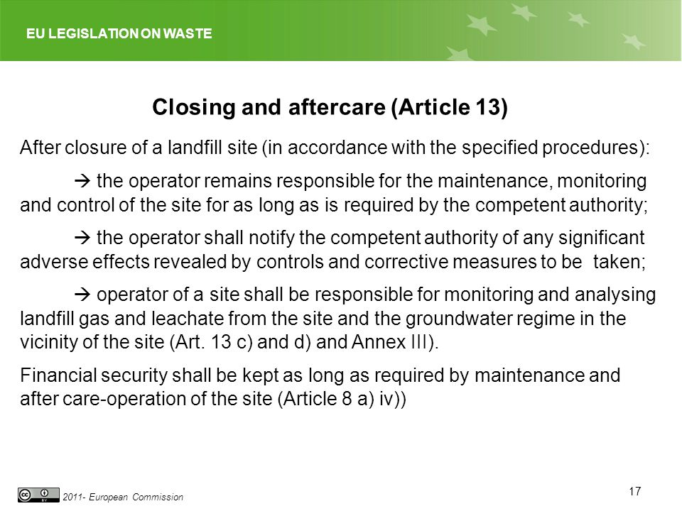 Closing and aftercare (Article 13)