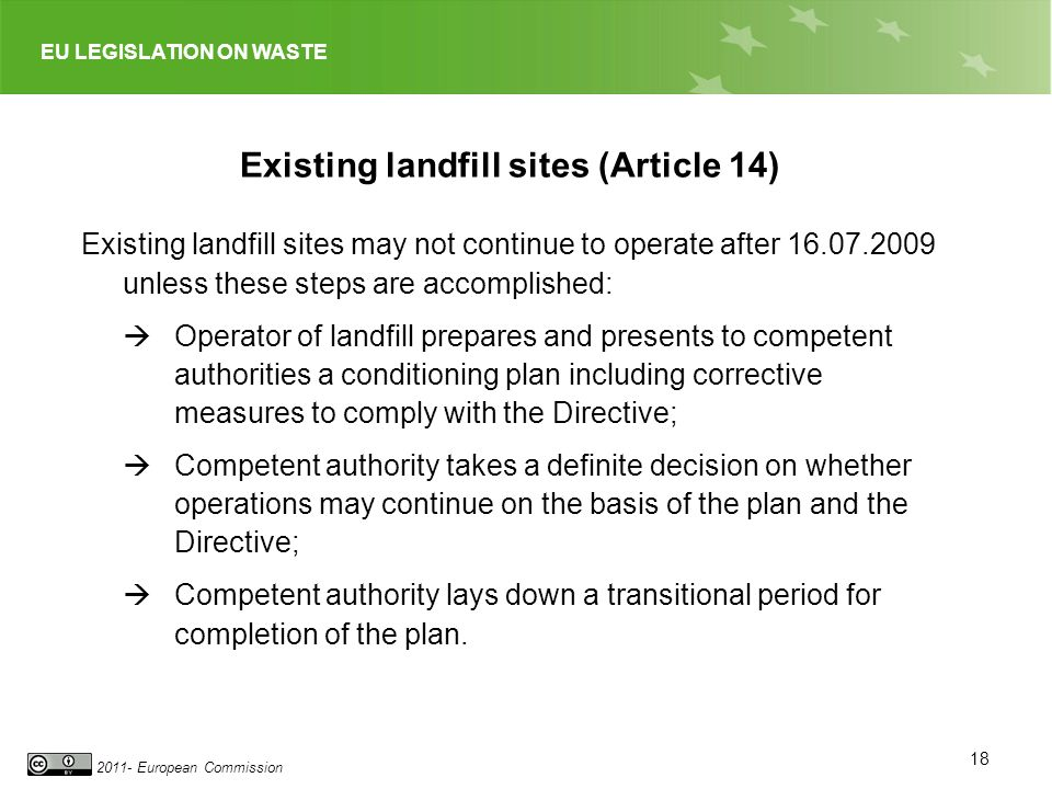 Existing landfill sites (Article 14)