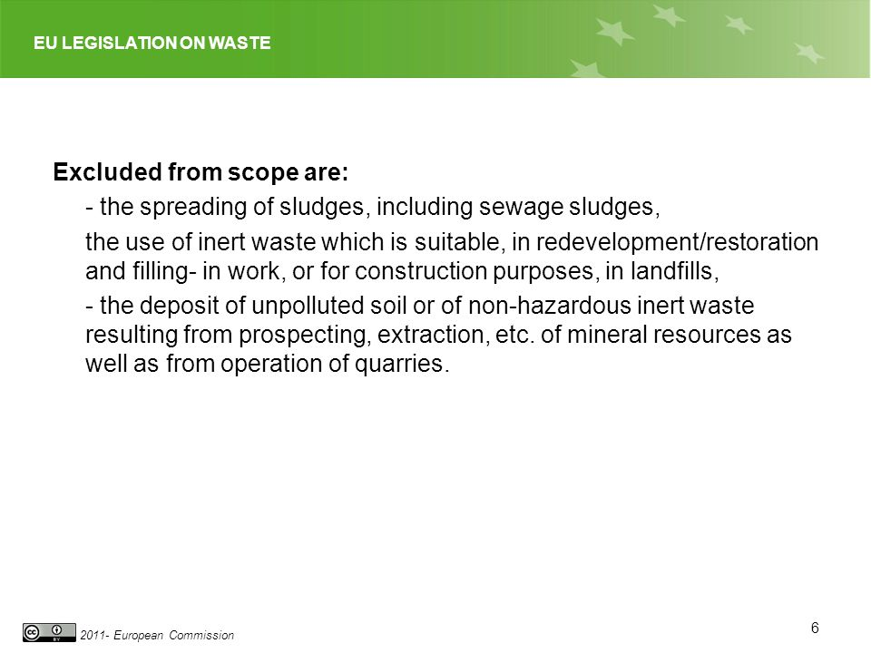 Excluded from scope are: