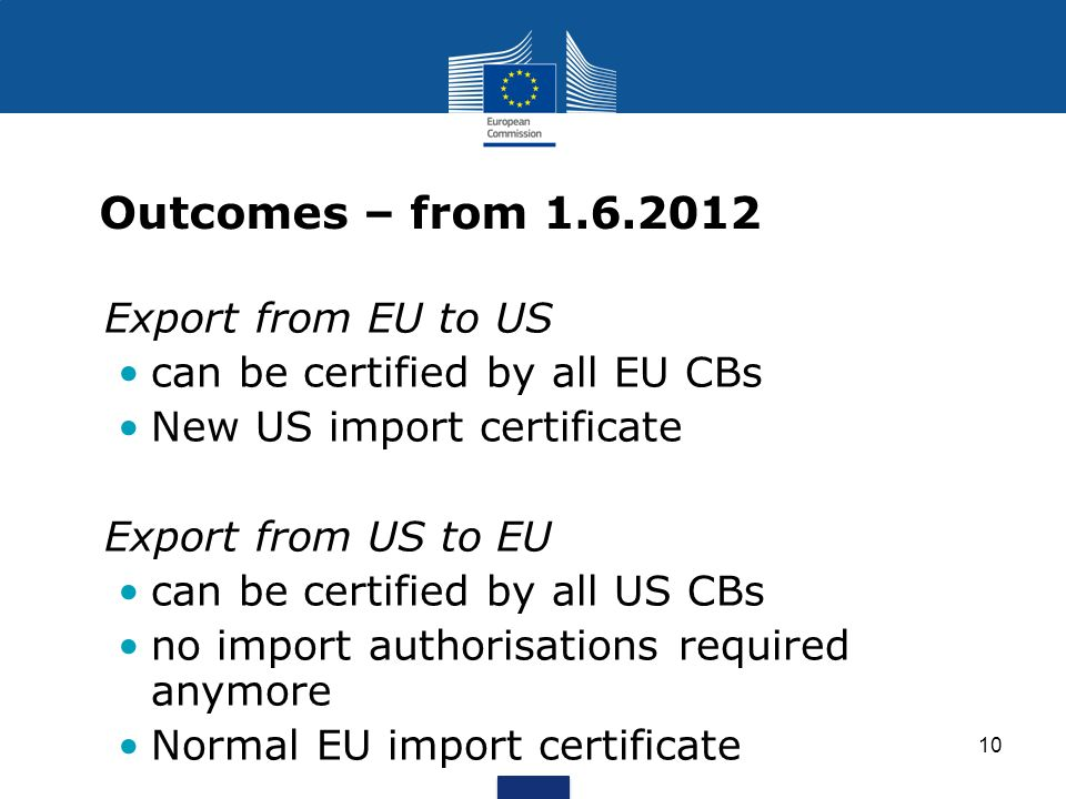Outcomes – from 1.6.2012 Export from EU to US